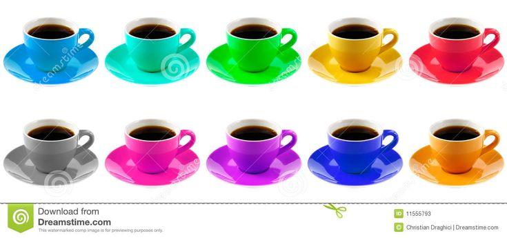 tazze caffè | Dieci hanno colorato le tazze di caffè isolate su una priorità bassa ...