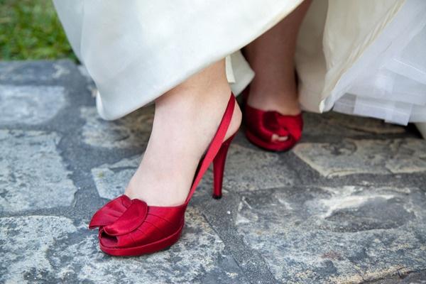 red peeptoe shoes