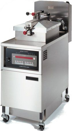 Henny Penny Pressure Fryer is faster cooking at lower temperatures. This not only saves energy and shortening, but helps seal in the food's moisture and natural juices.