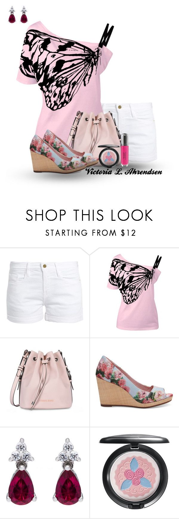 """Outfit Set #50! :-)"" by vahrendsen1988 ❤ liked on Polyvore featuring Frame, Armani Jeans, TOMS, MAC Cosmetics, Revlon, Pink and casualoutfit"