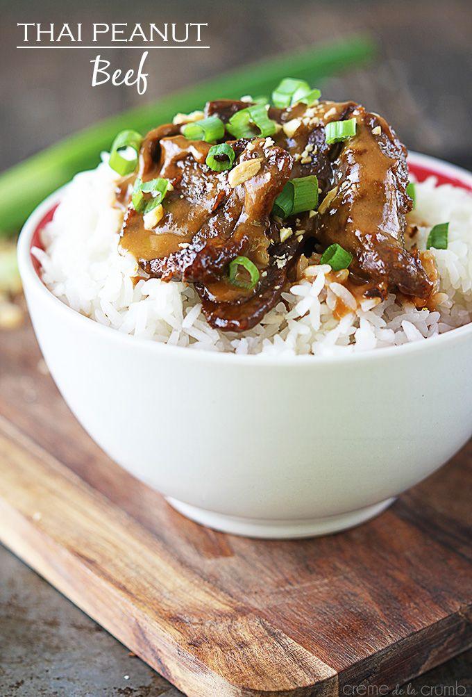 Thai Peanut Beef Recipe ~ Tender beef strips sautéed in a creamy peanut sauce