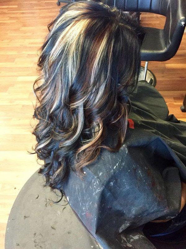 Black Hair with Carmel Brown and Blonde Peekaboo Highlights.