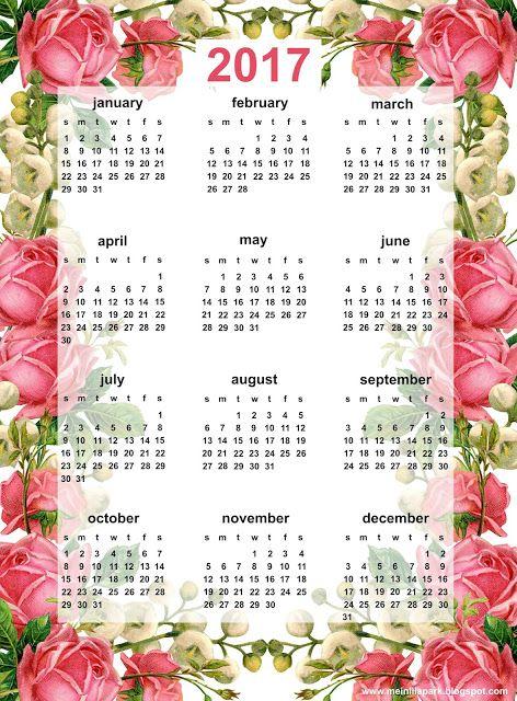 O Tapete Vermelho da Imagem: Images' Red Carpet: 2 calendários de 2017 floridos para imprimir / 2 c...