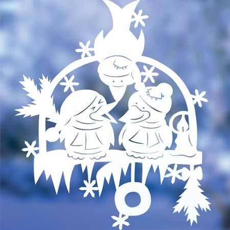 Déco de fenêtre, schéma offert...penguin snow scene