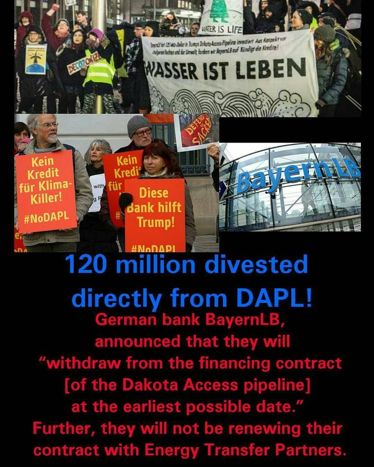 @Regrann from @misscbill -  German Bank BayernLB is defunding DAPL. They are pulling their 120 Million investment in this pipeline . Find out if your personal bank is financing the Dakota Access Pipeline. Search for this information. I have previous posts about Banks who are funding the Dakota Access Pipeline. #defunddapl #divest @wellsfargo @bankofamerica @chase @citibank #comericabank @usbank  #dougburgum #kylekirchmeier #standingrock #northdakota #america #usa #nodapl #dapl #waterislife…
