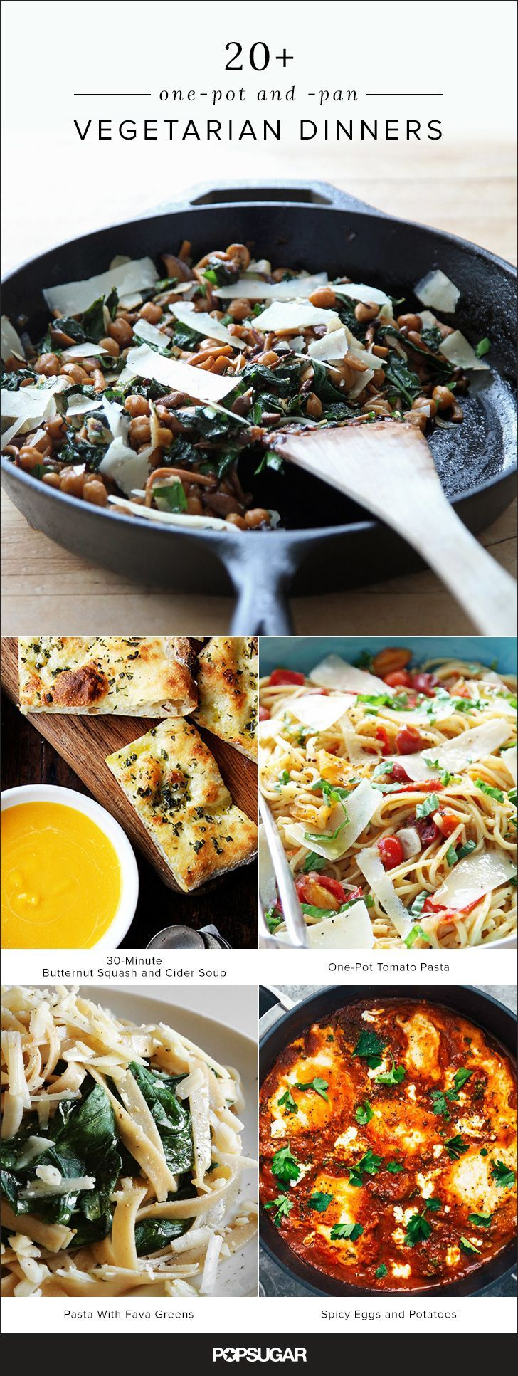 Don't let the idea of scrubbing a pile of dirty dishes dissuade you from cooking dinner tonight. Instead, try one of these ridiculously delicious one-pot and -pan vegetarian meals. That way you can spend more time doing what you actually love, like reading a great book, binge-watching a favorite show on Netflix, dishing with your besties over a glass of wine, or whatever floats your boat.