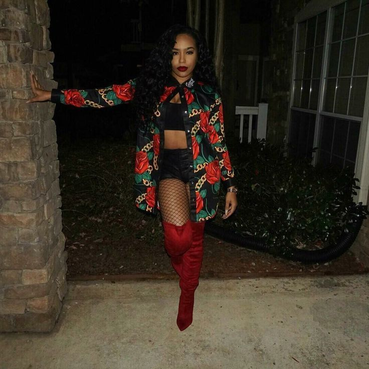 Red | Thigh High Boots | OTK Boots | Fishnets | Black Beauty | Melanin Poppin | Urban Style | Clubbing Outfit | Night Out | Winter Makeup