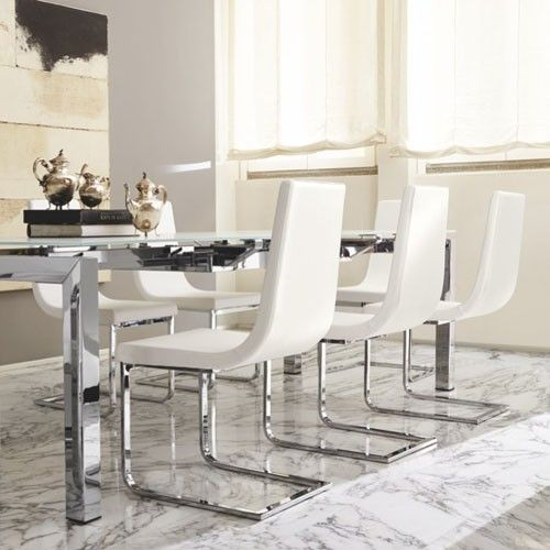 Optic White At The Dining Table Side ChairsDining ChairsLeather