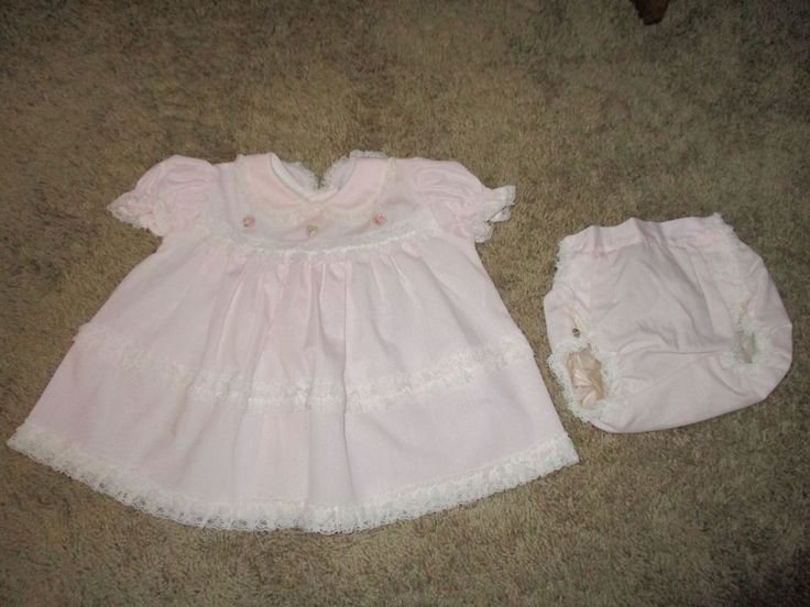 Vtg. Baby Toddler Girls Dress, Bryan Pink White Lace Diaper Cover 12 Months #Bryan #any