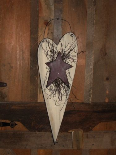 Long Heart with Star and Prim Twigs