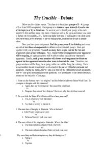 The Crucible Small Group Debate Activity, FREE document download for teachers