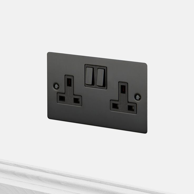 A double UK plug socket made from solid metal and finished to match our toggle switches, dimmers and euro plates.