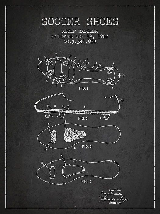 249602f578a66 Soccer Shoe Patent From 1967 | Soccer Patent Prints | Patent shoes ...