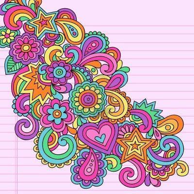 Flower Power Groovy Psychedelic Dibujado a mano elemento abstracto Doodle portátil de diseño en papel rayado Sketchbook de fondo, ilustración vectorial Foto de archivo