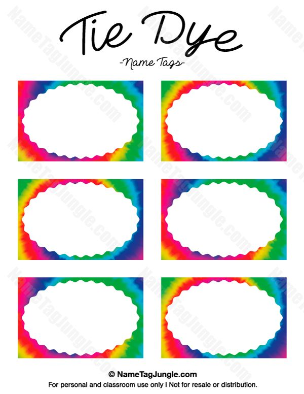 Rainbow name tags printable pictures to pin on pinterest for Free name badge template