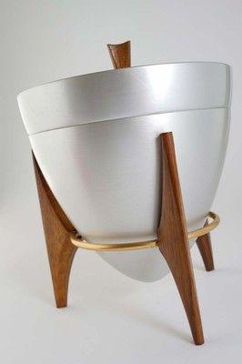 Vintage 50s Mirro Medallion Ice Bucket Mid Century Modern Atomic Eames Era