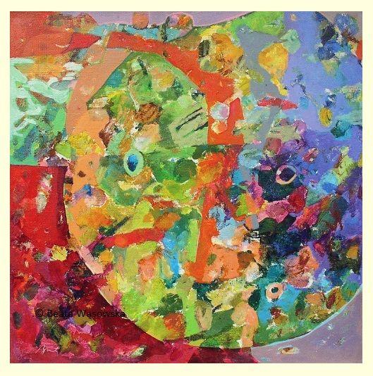 Beata Wąsowska, malarstwo Kosmiczny porządek, 80x80cm, olej na płótnie nr kat. 24-80 [2004] #art  #womensart #polishart #malarstwo #malarstwoPolskie #krajobraz #malarstwoKobiet