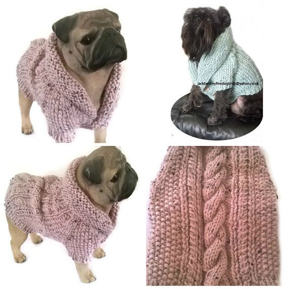 Made to measure to order, Very pretty small dog cardigan with my signature wooden buttons, wide collar neckline, and little sleeves, warm