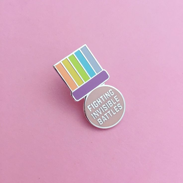 Fighting Invisible Battles Medal Enamel Lapel Pin Badge | hand over your fairy cakes