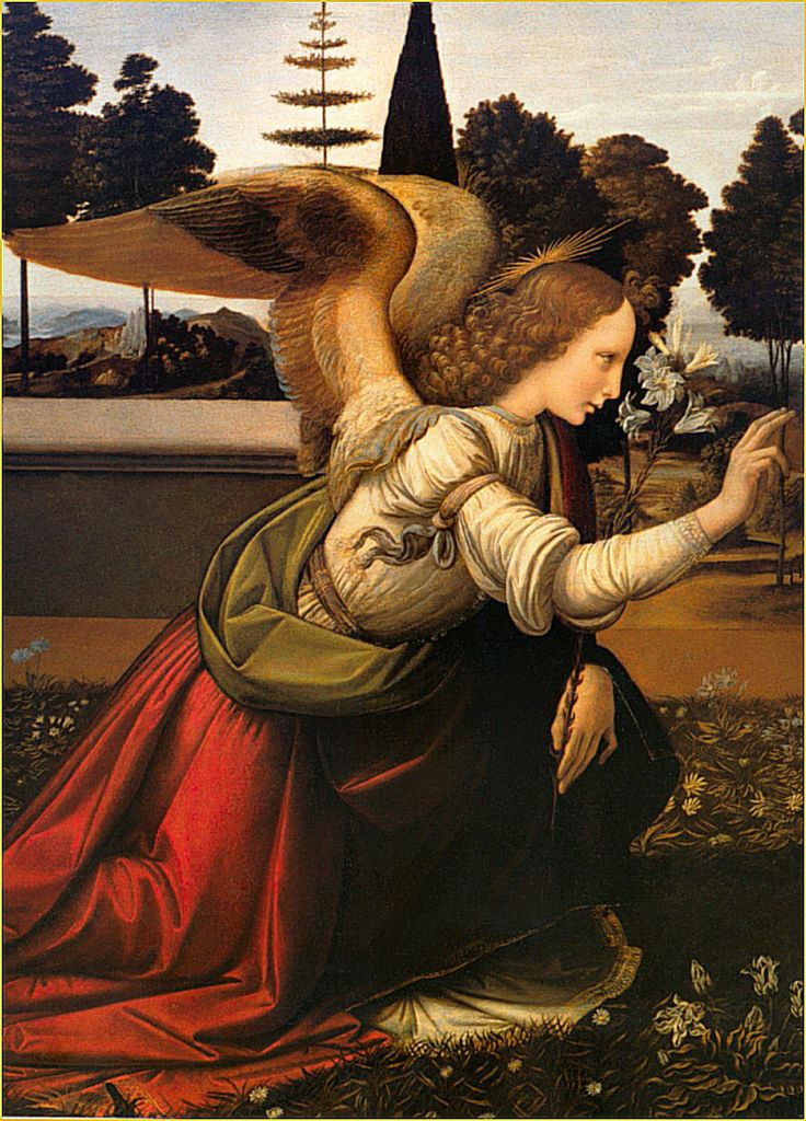 Detail of Archangel Gabriel in 'Annunciation', by Italian Renaissance artists Leonardo da Vinci and Andrea del Verrocchio, circa 1472–1475