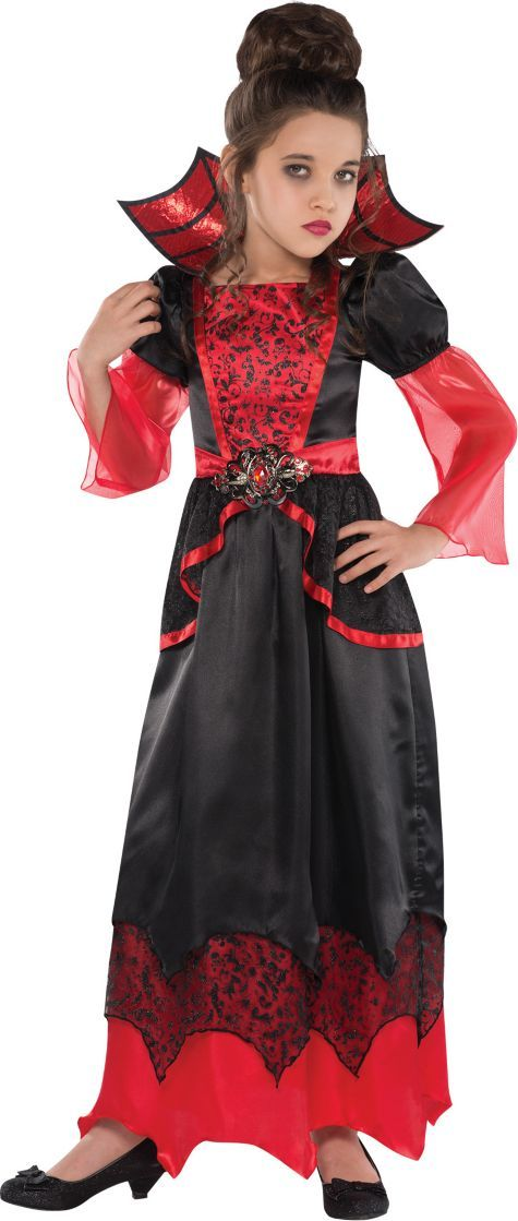 our vampire queen costume for girls features a gothic red and black gown with brocade design on the bodice and sheer red tulle sleeves