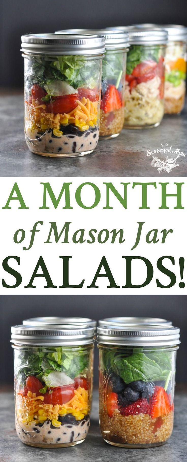 A Month of Mason Jar Salads! Meal Prep | Salad Recipes | Meal Prep for the Week | Meal Prep Recipes | Healthy Lunch Recipes | Lunch Ideas | Healthy Recipes | Healthy Dinner Recipes | Mason Jar Meals