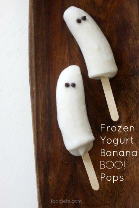 "Frozen Yogurt-Banana ""Boo!"" Pops, a Healthy Halloween Treat Kids Can Make"