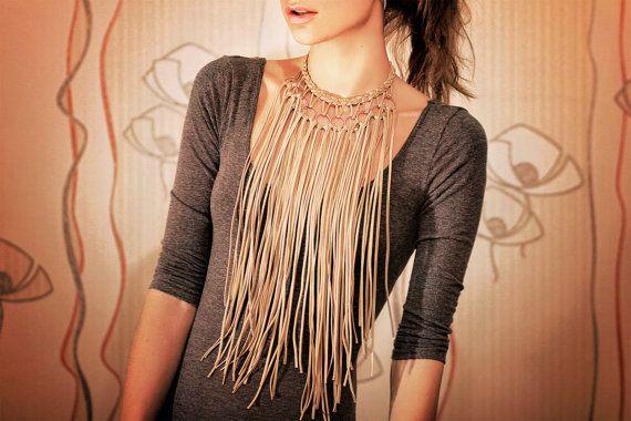 Beige Leather Fringe Necklace Long leather Jewelry от AnimalSkin