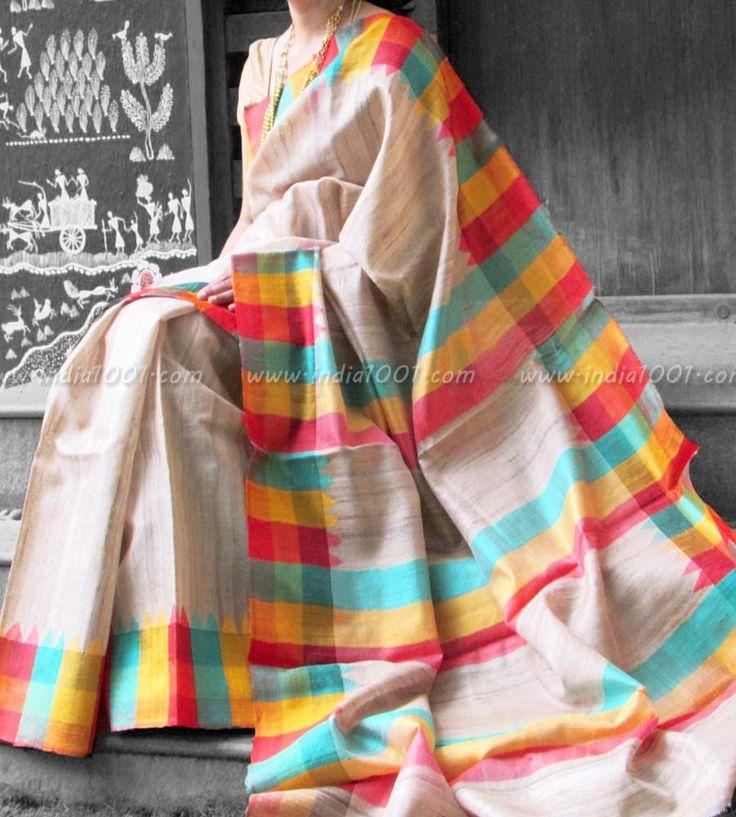 Elegant & Fine Geecha and Tussar Silk Saree | India1001.com