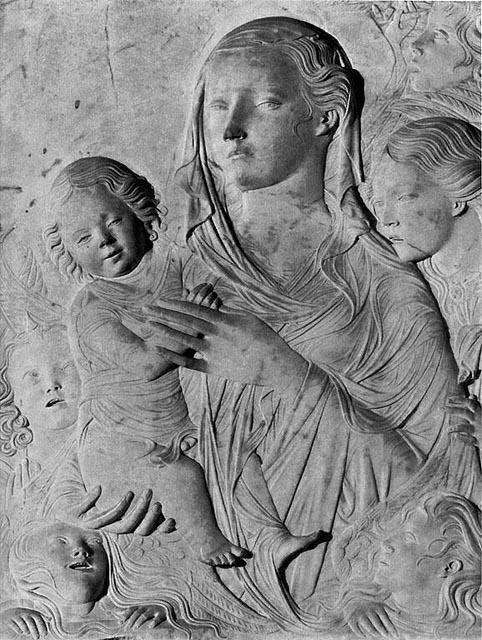 'Madonna del Carmine', Marble by Agostino Di Duccio (1418-1481, Italy)