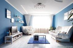 Синие стены в гостинной | Дизайн интерьера гостиной | Фотогалерея ремонта и дизайна | Школа ремонта. Ремонт своими руками