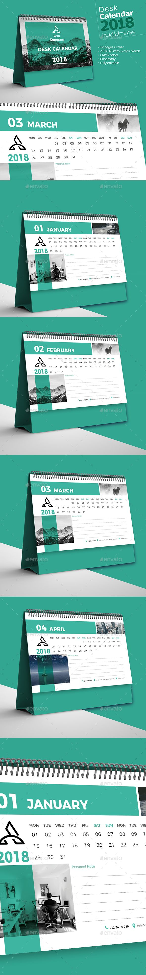 Desk Calendar 2018 Template InDesign INDD