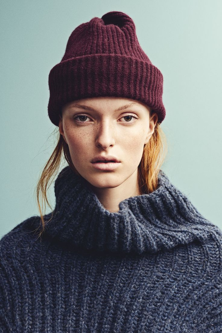 Holzweiler AW15 Collection - Tvedestrand Blue Sweater + Bushwick Beanie Wine