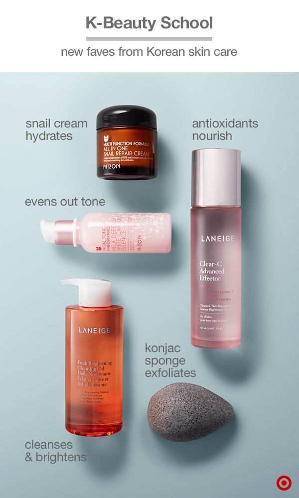 The latest skin-care innovations straight from Korean beauty (K-beauty): Mizon Snail Repair Cream (made from its namesake's extract) reduces the appearance of fine lines and blemishes, while Laneige Clear-C Effector brightening essence nourishes with antioxidants. Another essence, Mizon Mela Defense, brightens with sakura and white flower, while Laneige Fresh Brightening Cleansing Oil (made with apricot and grapefruit) and the gently exfoliating EcoTools Konjac Sponge make the perfect pair.