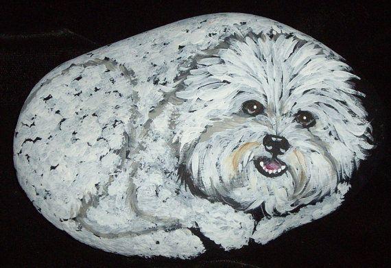 Bichon Frise Dog Hand Painted Rock Art by daniellesoriginals