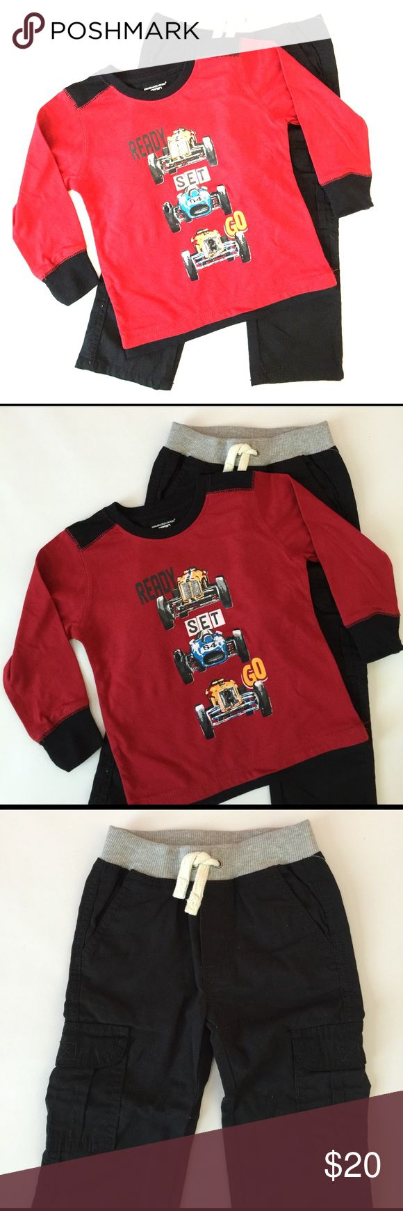 Black and red race car cargo pants long tee set 3T New with tags. Pants have elastic waistband. Bundle to save 25%! Kids Headquarters Matching Sets