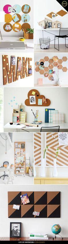 Várias ideias de tutoriais de painéis de recados  para a mesa de trabalho com papel cortiça .