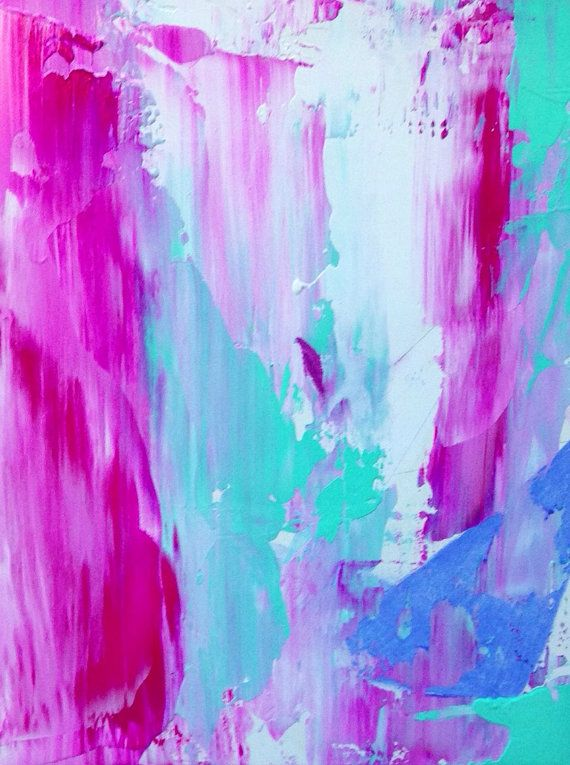Pastel abstract painting with gold leaf di for Pastel teal paint