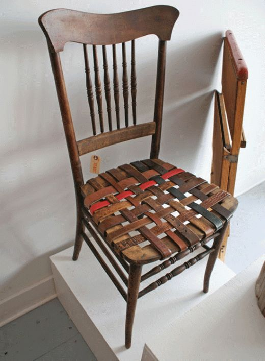 DIY: Reuse and repurpose old leather belts to refurbish seat of vintage wooden chair