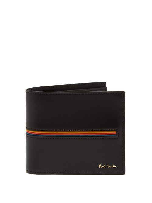 e9003c5e79f3 PAUL SMITH PAUL SMITH - SIGNATURE STRIPE BI FOLD LEATHER WALLET - MENS -  BLACK. #paulsmith