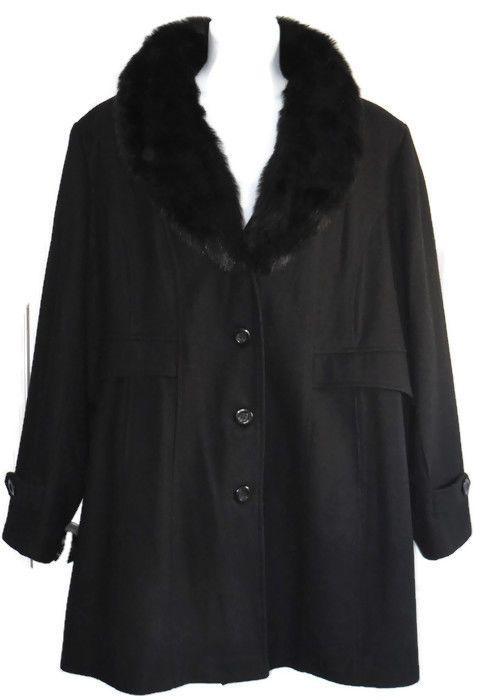 Giacca Woman Black Wool Coat 4X  Faux Fur Collar Peacoat Lined Plus #Giacca #Peacoat