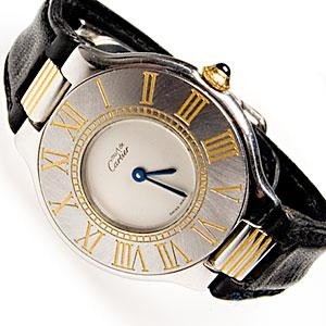 MUST DE CARTIER 21 WATCH LADIES ROMAN DIAL QUARTZ MOVEMENT