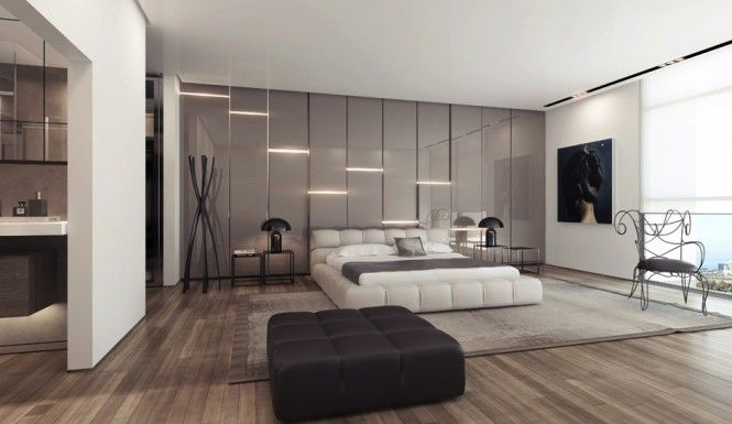 Unique Wall Covering Ideas Gray Gloss Wall Lighting Panels In Modern Stylish Bedroom Design With Unique Wall Covering Ideas Plus Wood Flooring Also Beautiful Area Rug And Stylish Bedside Table With Lamp Ideas