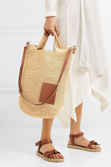 f08e89afb741 Loewe - Slit leather-trimmed woven raffia tote in 2019 | Shopping ...