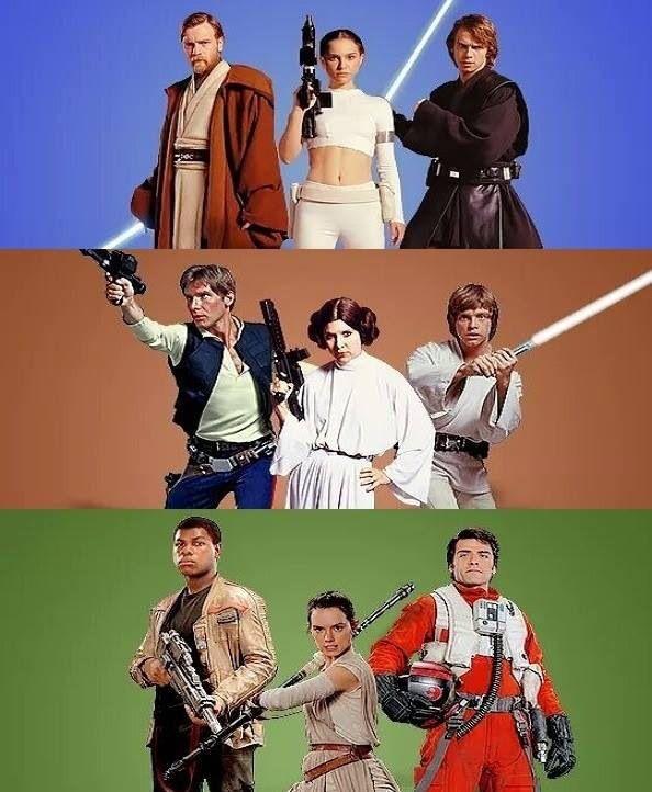Star Wars trio. Prequel Trilogy: Obi-Wan Kenobi, Padme Amidala and Anakin Skywalker. Original Trilogy: Han Solo, Princess Leia and Luke Skywalker. Sequel Trilogy: Finn, Rey and Poe Dameron.                                                                                                                                                      More
