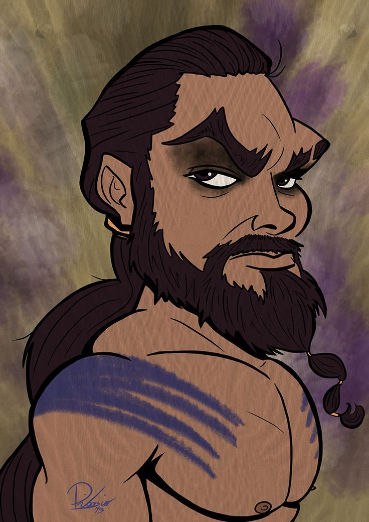 Jason Momoa as Khal Drogo in #gameofthrones - caricature by Ribosio
