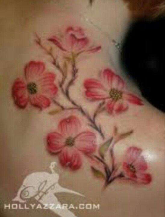 Dog wood flower tattoo