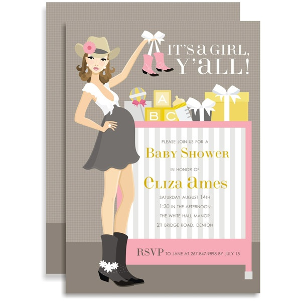 Cowgirl Crib Pink Brunette Baby Shower Invitation