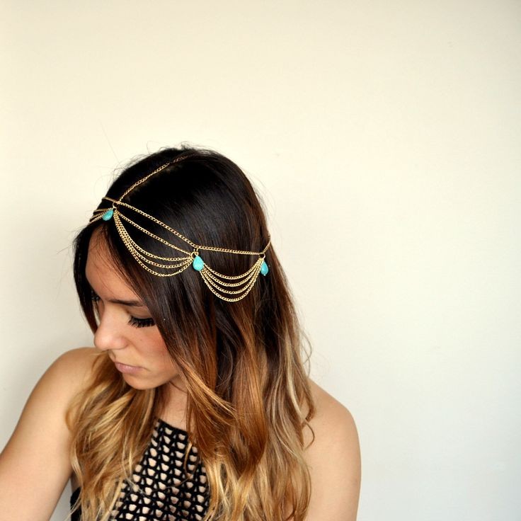 Boho Chic Chandelier Head Chain Hair Jewelry -Gold/Turquoise by AestasCalor on Etsy https://www.etsy.com/listing/228396744/boho-chic-chandelier-head-chain-hair