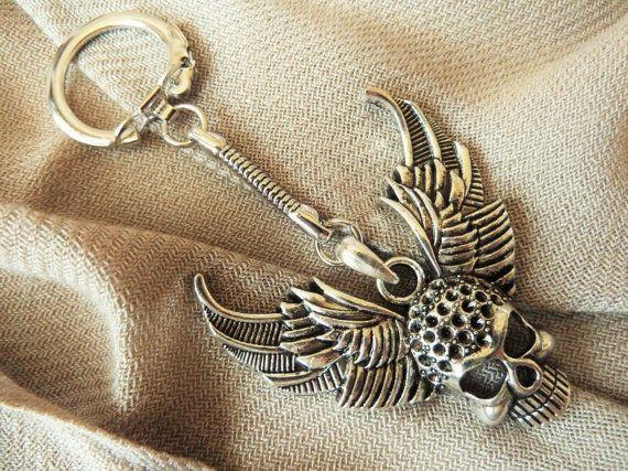 Charity  Metal Flying Skull Keychain  by JewelryDesignsByKara